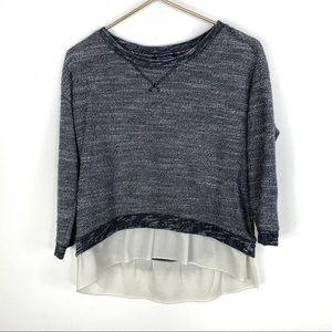 American Eagle Gray Marled Shirt Tail Sweater